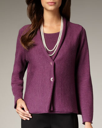 Washable-Wool Ribbed Jacket, Women's
