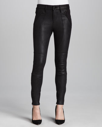 Elle Faux-Leather Moto Jeans