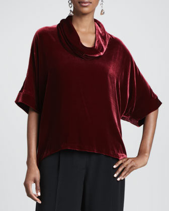 Velvet Cowl-Neck Top & Crepe-de-Chine Wide-Leg Pants