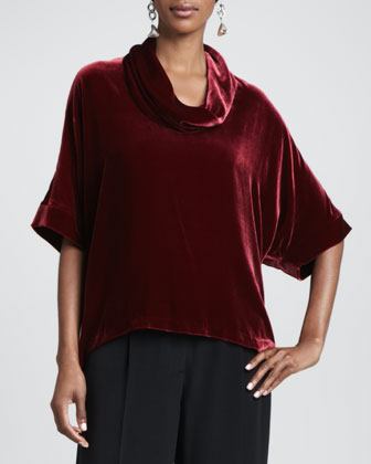 Velvet Cowl-Neck Top & Crepe-de-Chine Wide-Leg Pants, Petite