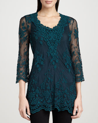 Maidenfair Mesh Embroidered Tunic & Long Knit Tank
