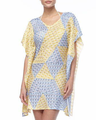 Puckered Flutter-Sleeve Coverup