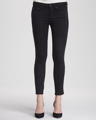 Dylan Side-Pieced Skinny Jeans, Black