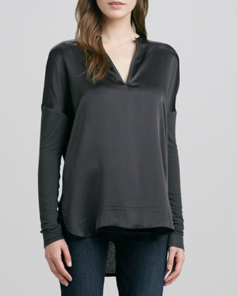 Mixed Media Split-Neck Top, Fatigue