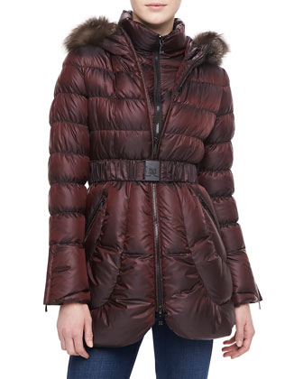 Harlow Fur-Trim Puffer Coat with Belt