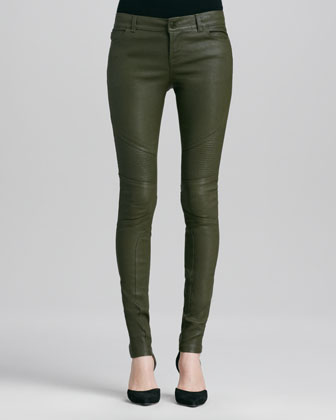 Moto Leather Pants, Khaki Green