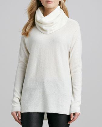 Drape-Neck Cashmere Sweater, Winter White