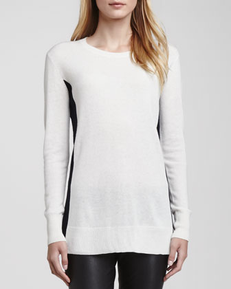 Bicolor Crewneck Cashmere Sweater & Zipper-Cuff Cropped Leather Leggings