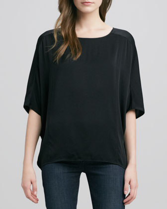 Sculpted Charmeuse Blouse, Black