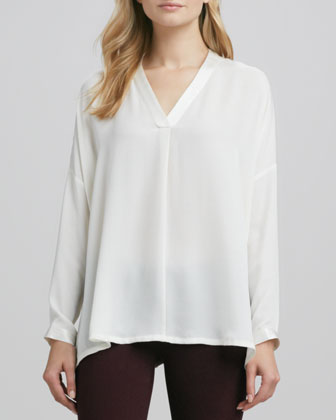 Satin-V-Placket Silk Blouse, Ivory