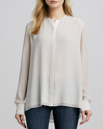 Double-Layer Silk Blouse, Almond/Ivory