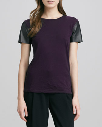 Short-Leather-Sleeve Tee & Stretch Wool Harem Pants