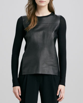 Luxe Leather/Merino Sweater, Black