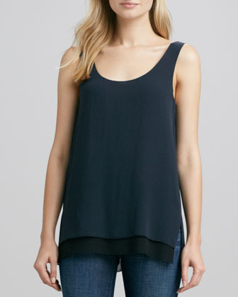 Double-Layer Silk Tank, Coastal/Black