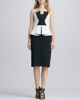 Drea Leather/Crepe Strapless Cocktail Dress