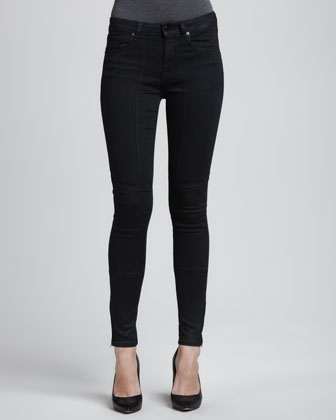 Sturgis Lustered Quilted-Knee Skinny Jeans