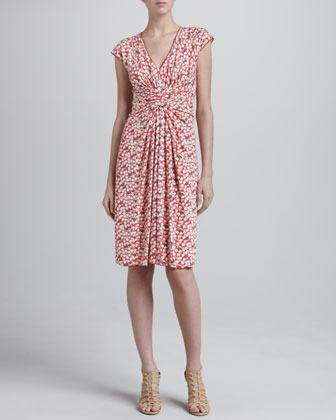 Petal Jersey Ruched Dress, Dragon Fruit