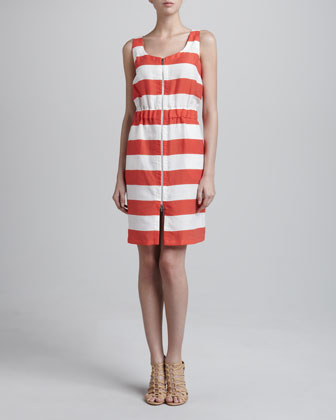 Nautical Striped Front-Zip Dress