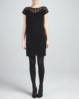 Suede Lattice Ribbon Dress, Black