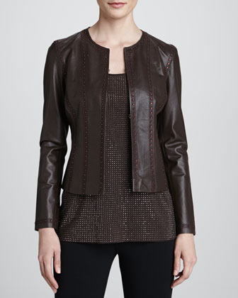 Studded Perforated Leather Jacket, Brown