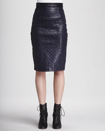 Monica l'Oeil Leather Pencil Skirt