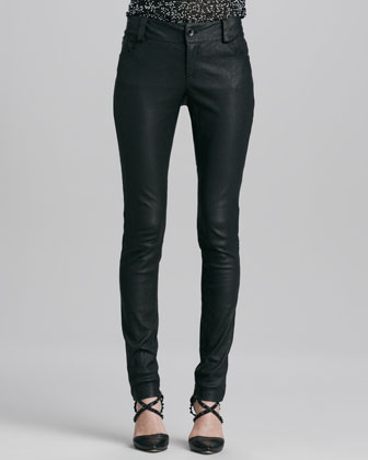 Leather Five-Pocket Skinny Jeans