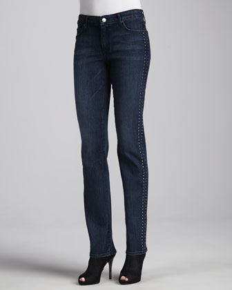 Faith Beaded Straight-Leg Jeans