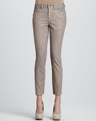 Sandra Metallic Skinny Control-Panel Jeans