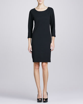 Three-Quarter-Sleeve Ponte Shift Dress