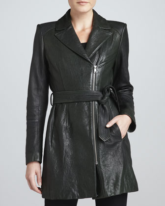 Sophie Tie-Waist Leather Jacket