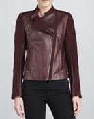 Emmy Leather Mixed-Media Moto Jacket