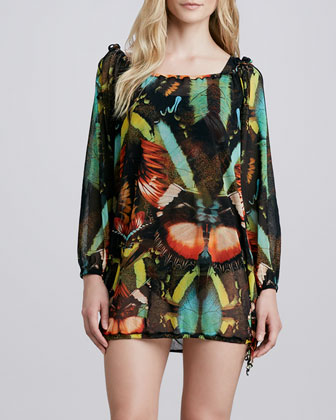 Butterfly-Print Coverup Tunic