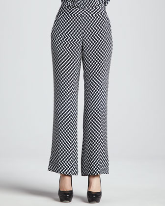 Mitrana Herringbone-Print Silk Pants