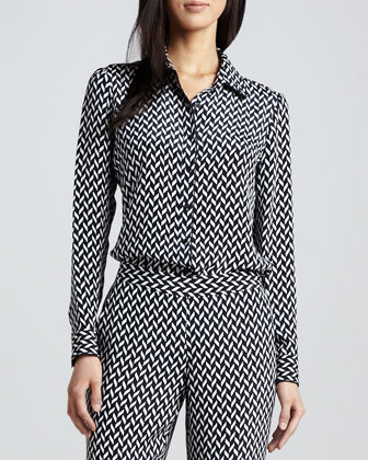 Cully Herringbone-Print Silk Blouse