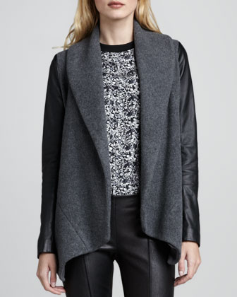 Laura Leather-Sleeve Blazer