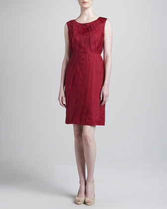 Pleated Organza Dress, Raspberry