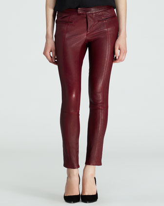 Motion Leather-Front Sweatshirt and Cropped Leather Stovepipe Pants