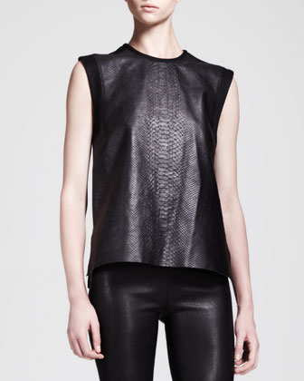 Snake-Print Combo Tank and Stretch Leather Skinny Pants