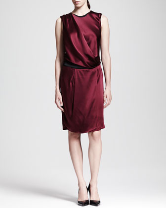 Quantum Satin Drape Dress