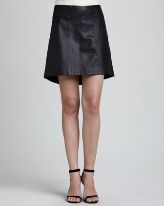 Swick A-Line Leather Skirt