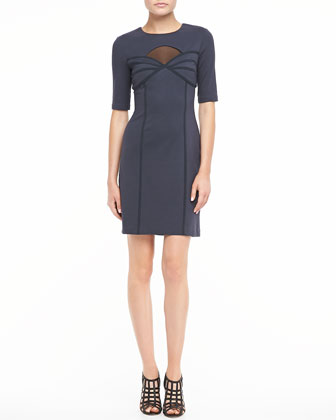 Cutout Half-Sleeve Sheath Dress