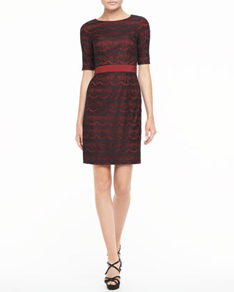Lace Half-Sleeve Dress, Crimson/Black
