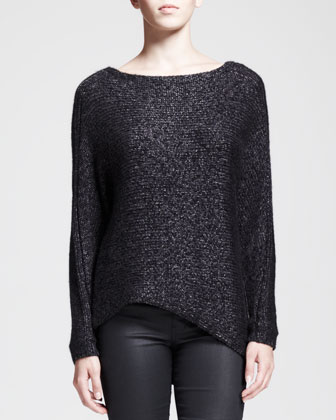Flecked Metallic Asymmetric Sweater