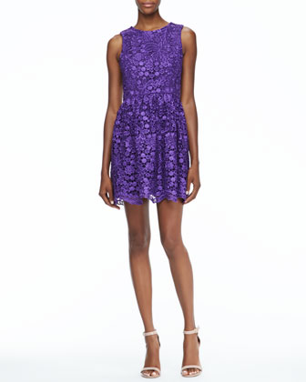 Sleeveless Lace Dress, Purple