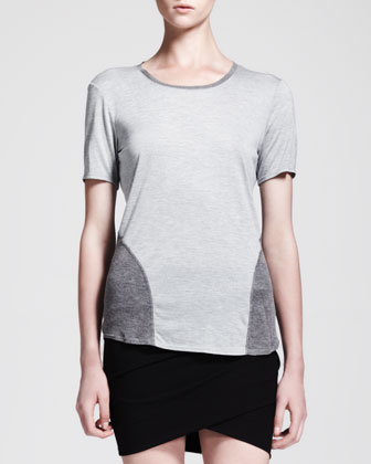 Ruched Short Skirt and Rib-Panel Jersey Tee