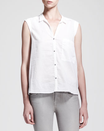 Soft Poplin Cap-Sleeve Shirt