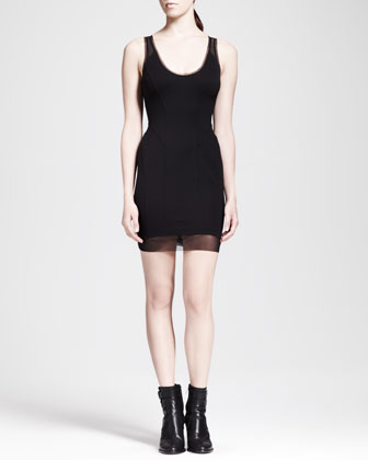 Cadet Mesh-Trim Ponte Dress