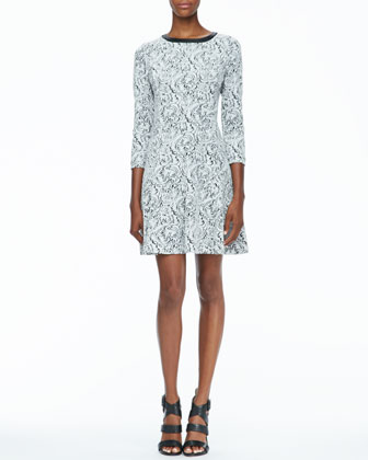 Printed 3/4-Sleeve Knit Dress