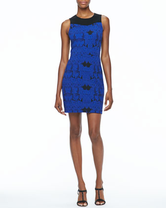 Sleeveless Jacquard Lace Dress, Blue Sapphire