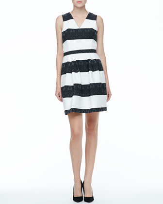 Sleeveless Black and White Striped Dress